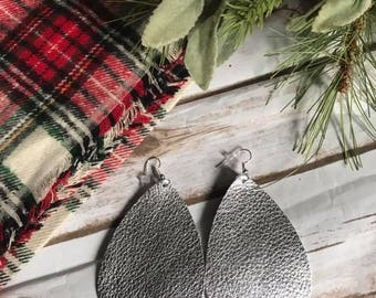 Silver Metallic Leather Teardrop Leather Earrings