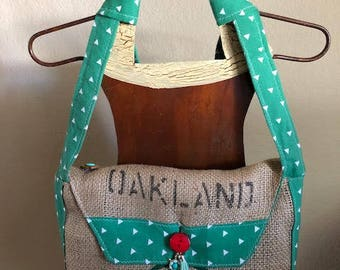 Re-Purposed Coffee Bag Purse, Light Green, Oakland
