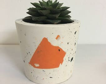 Hand cast jesmonite planter - concrete style plant pot for cacti and succulents