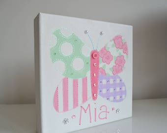 Girls Personalised Butterfly Canvas