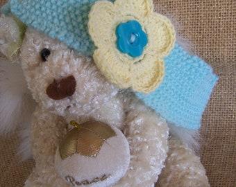 Girls Headband Aqua and Yellow Hand Knitted