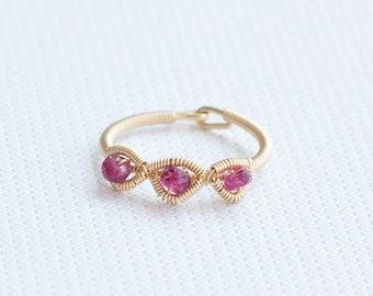 Family Birthstone Rings Pink Tourmaline Ring Birthstone Rings for Mom,October Birthstone Ring.