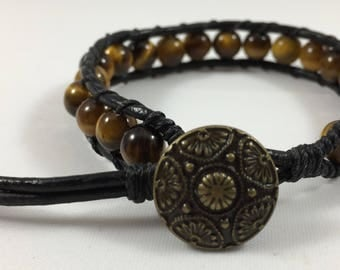Leather Wrap Bracelet with Tiger's Eye Beads