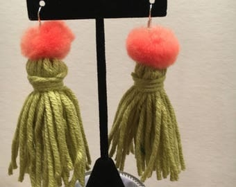 Lime green tassel earrings with pompoms