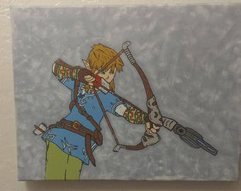 Zelda Breath of the Wild Link Painting - 11x14
