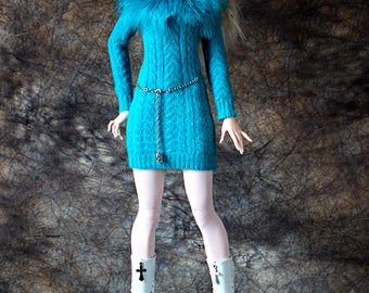BJD YID CLOTHES Knitted Turquoise Dress cashmere Sweater Doll Outfit Sd Clothing Zenith girl OOak