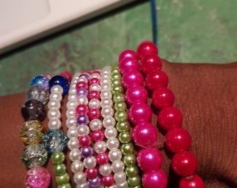 multicoloured  beaded bracelets