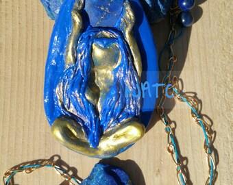 Clay Goddess Hera/Lapis Lazuli/Pendant/Beaded Necklace/ Throat Chakra/ December Birth Stone