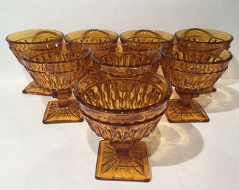 Amber Mt. Vernon Champagne Coupes, Champagne Coupes Set of 8, Sherbet Cups, Wedding Toasting Glasses