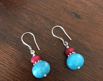 Ruby root and blue quartz silver earrings