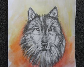 Watercolour and Greylead Wolf Print
