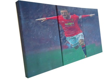 Canvas wall art prints set of 3 framed ,Wayne Rooney