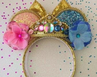 Aurora Sleeping Beauty Inspired Pink Blue Mouse Ears Tiara Light Up Headband