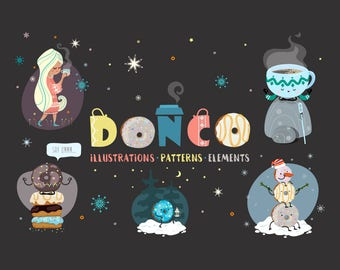 Donuts, Coffee, cute illustrations, vector, instant download, patterns, elements, cozy, unicorn, llama, snowman, cute clip art, sweet girl