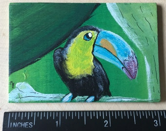 Blue-Beaked Toucan - Miniature Acrylic Painting and Magnet