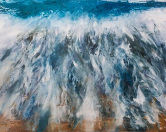 Welsh Wave, original oil painting on stretched canvas