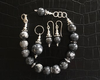 lavrikite and sterling silver jewelry set