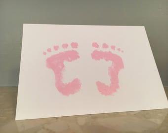 Hand painted congratulations baby footprint card