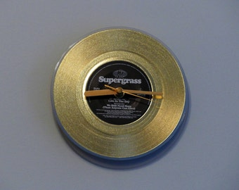 "Supergrass - Late in the Day | Gold 7"" Vinyl Record Clock"