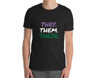 They. Them. Their. Pronouns Gender Short-Sleeve Cotton T-Shirt Pink Pride Slogan Queer Non-Binary Comfortable Reveal Top Political LGBTQIA*