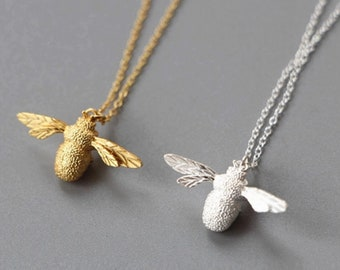 Bee pendant necklace etsy 925 sterling silver or 24ct gold plated bumble bee necklace velvet gift pouch aloadofball Choice Image