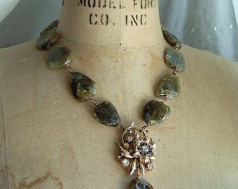Assemblage Vintage Necklace Floral Green Garnet Gemstones Rustic Rhinestone Glam  by CobwebPalace