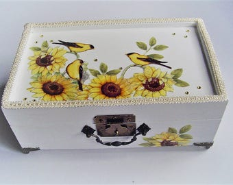 Sunflower design jewelry box, fabric design, mirrored top, removable trays,  off white trim, metal feet and handle, beaded