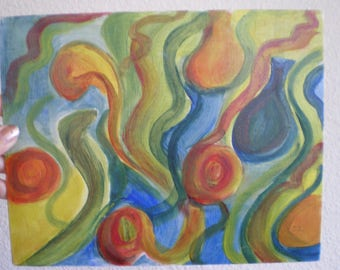 Abstract Oil Painting, The Vase, wave swirls of blues, greens and oranges