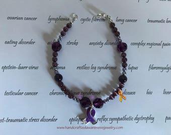Purple Ribbon Awareness Bracelet, Purple Ribbon Bracelet, Fibromyalgia Awareness Bracelet, Lupus, Alzheimers, Pancreatic Cancer, Avertine