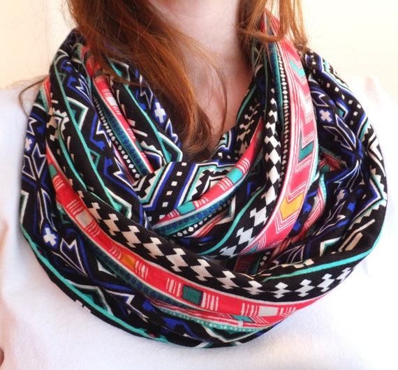 Bright geometric print infinity scarf black scarf jersey gift for her mothers day spring scarf ethnic geometric print lightweight accessory