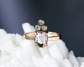 Pink Sapphire Crown Ring, Diamond Cluster, Sapphire Ring, Unique Engagement Ring, Rose Cut Sapphire, 14k Yellow Gold, Conflict Free