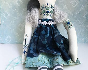 Embroidered bohemian girl cloth doll River OOAK