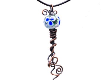 Handmade Copper Wire Wrapped Lamp work Pendant Necklace