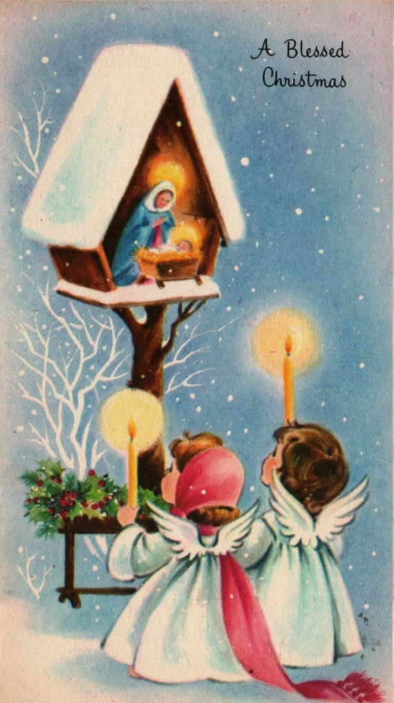 A Blessed Christmas - Tiny Nativity with Angels and Candles - Vintage Christmas Card