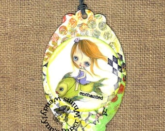 Bookmark, Girl with Fish, Mixed Media Collage, Laminated Bookmark, gift for readers, bookmark for girl, small art, hand colored, ooak