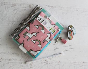 Unicorn planner - monthly planner - pink pencil pouch - cute unicorn bag - mini planner cover pouch - pen holder with elastic band