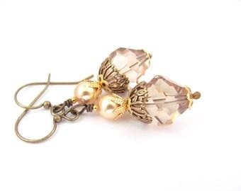 Topaz Crystal Earrings Boho Bohemian Bold Dangle Drops, Gold Swarovski Crystal Pearls, Stocking Stuffer, Chandelier Wedding Bridal