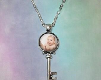 Custom Photo Key Shaped Necklace, KeyChain or Purse Charm - Photo Keyring, Photo Pendant, Customized Necklace