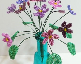 French Beaded Flowers Variety of Violets in Aqua Vase