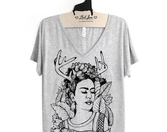 Small - Frida Kahlo Heather Gray Slouchy V-Neck T-Shirt