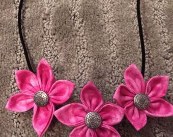 Pink Silver Button Fabric Flower Statement Necklace
