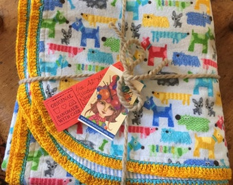 Large Handmade Cotton Flannel Baby Receiving Blanket, Crib, Hand Crochet Edging with Dogs