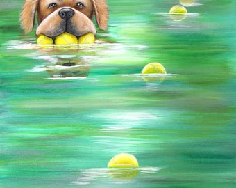Modern Dog Painting by Carol Iyer - Golden Retriever with tennis balls swimming