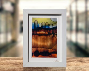 Contemporary Painting Metal Print In Brown, Blue, Yellow, Abstract Shelf Accent, Framed Desk Decor, Modern Metal Wall Art by Jon Allen - Q