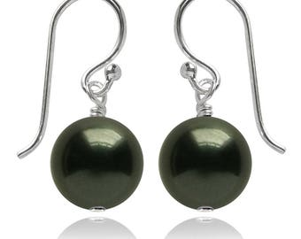 Swarovski Pearl and Sterling Silver Earrings in Dark Green – CHOICE OF COLOURS