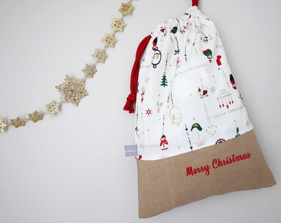 Customizable drawstring pouch - Christmas - Ornaments - Gold - White - Red - Holidays - Wrapping gift - cuddly toy - slippers - toys