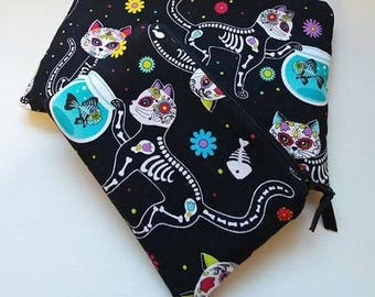 SUGAR SKULL KITTY 2 Piece Set Zippered Wallet and Coin Pouch Make Up Bag Pencil Case Anime Cosplay