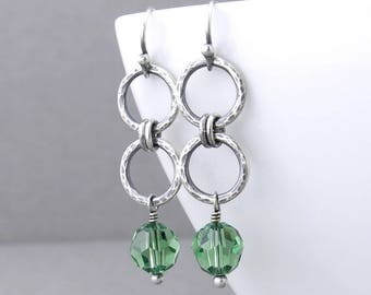 Simple Green Earrings Silver Drop Earrings Silver Circle Earrings Modern Silver Jewelry Gift for Women - Akira