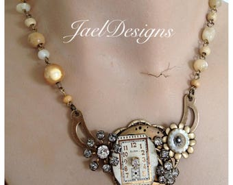 Steampunk Vintage Watch Face Necklace - Elgin - Rhinestones - Pendant Necklace - Statement -OOAK