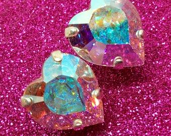 Large Heart Shaped Pastel Rainbow Mega Sparkly Crystal Post Earrings - 14x15mm Aurora Borealis AB Finish, Unicorn Fashion RARE Large Size